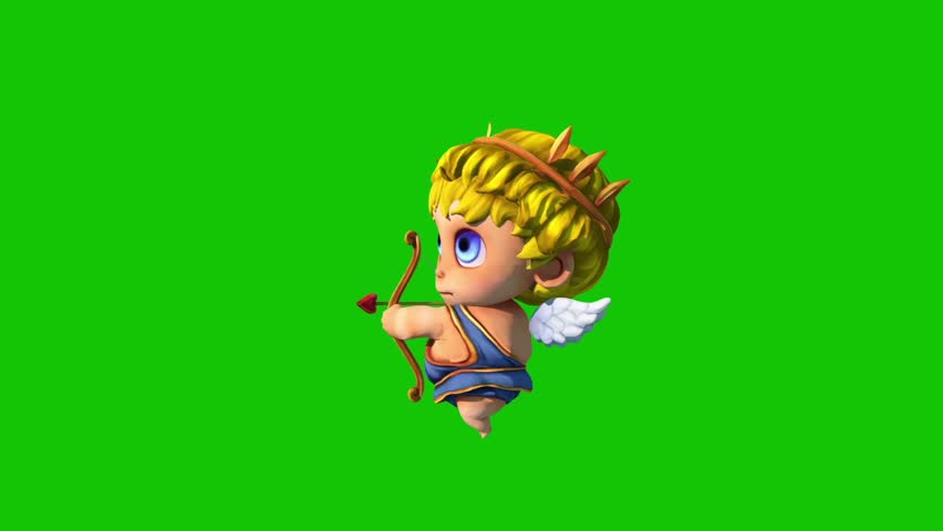Happy Cupid Happy Valentine's day Side Green Screen 3D Rendering Animation | Shutterstock HD Video #1022820373