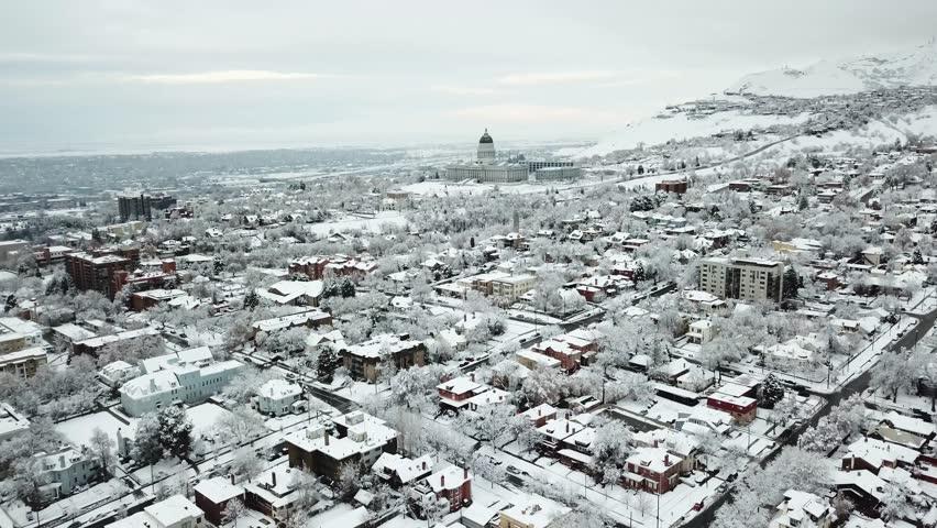 Downtown Salt Lake City aerial snowy winter views