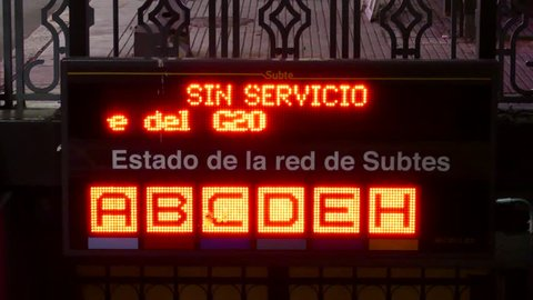 Bueno Aires, Argentina, G20 - November 30th 2018 - Buenos Aires subte famous subway system lit sign announcing G20 closure