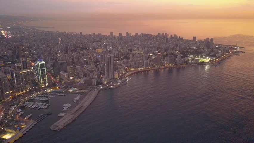 Flying over Beirut bay marina and downtown. Drone aerial shot of Beirut, Lebanon, during sunset. | Shutterstock HD Video #1022918773