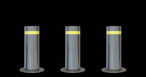 Bollards.Automatic traffic barrier. 3d bollards. luma matte. alpha matte. 4k vehicle barrier, roadblock