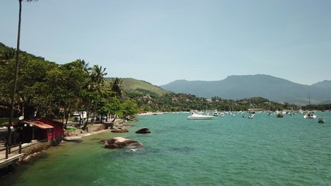 Aerial view of Ilhabela coast in Sao Paolo, Brazil, American Latin