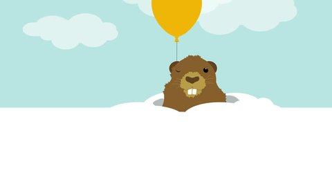 Postcard to groundhog day. A groundhog emerges from a burrow, a balloon flies behind it, a groundhog winks with one eye, then hides in a burrow