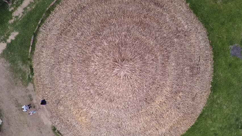Drone top down view of a textured roof made with dry grass of a mud house in an under developed Brazillian village Nova Morada, drone rising,