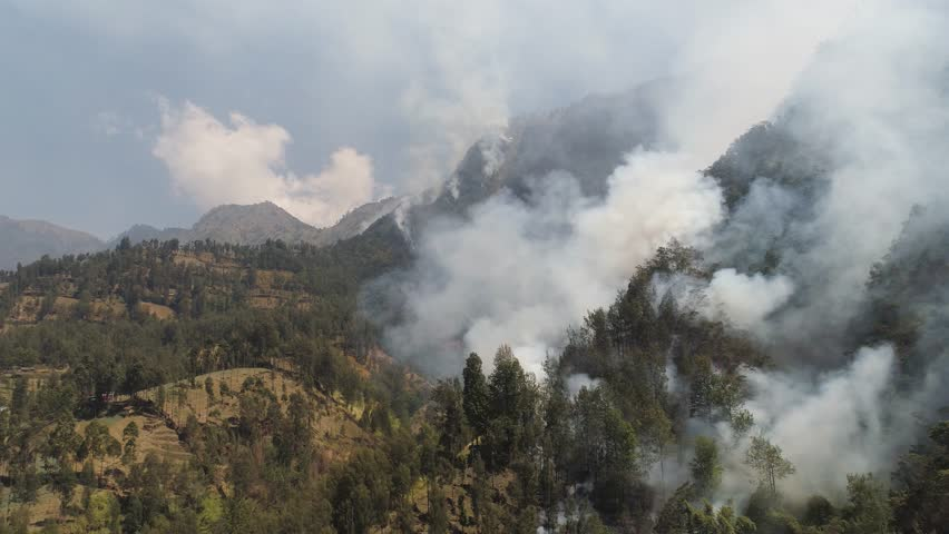 Fire in mountain forest. aerial view forest fire and smoke on slopes hills. wild fire in mountains in tropical forest, Java Indonesia. natural disaster fire in Southeast Asia | Shutterstock HD Video #1023201673