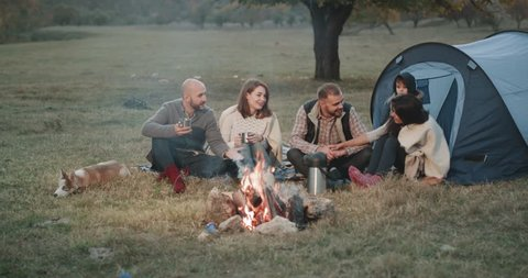 Two young families have a nice picnic together , with a pretty judo dog and a small charismatic boy , they are all around the campfire drinking tea and have a relax time. 4k
