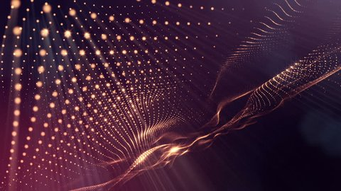 Composition with oscillating luminous particles that form surface. Abstract background of glowing particles with shining bokeh sparkles. Smooth animation looped. Red 1