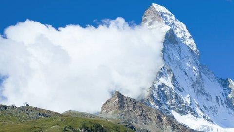 Motion time lapse Banner cloud formation East face Matterhorn summit, Zermatt, Switzerland, Europe,