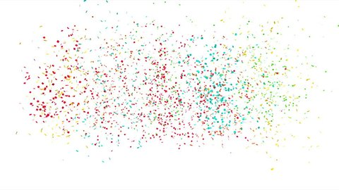 Fine festive confetti made of different colors paper isolated on white, 4k 3D animation