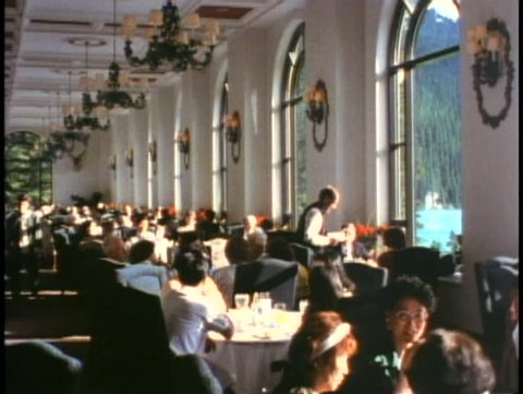 BANFF NATIONAL PARK, ALBERTA, 1990, Chateau Lake Louise Hotel dining room