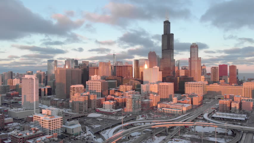 Chicago downtown buildings skyline aerial