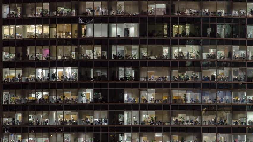 Close view to office windows in Skyscrapers International Business Center City at night with Moscow river timelapse from top, Moscow, Russia. Zoom in | Shutterstock HD Video #1023385843
