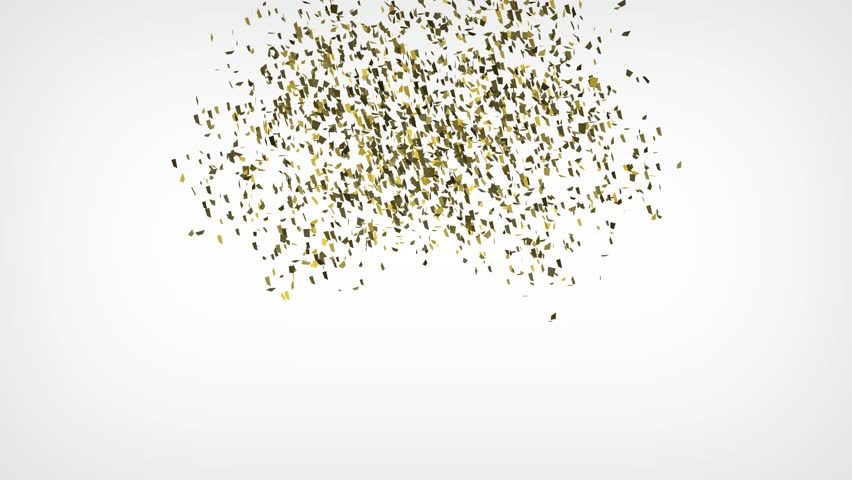 Gold confetti explosion falling down on white background. 4K   Shutterstock HD Video #1023508783
