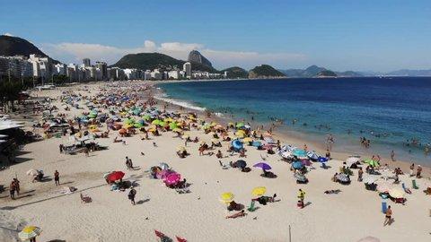 Aerial view from Copacabana Beach, Rio de Janeiro, Brazil.