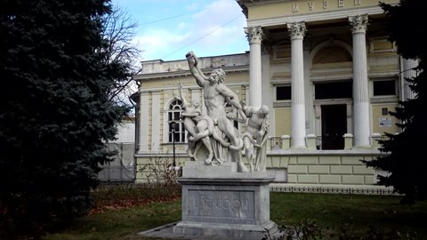 "Ukraine, ODESSA - 03 January 2019: Monument. The sculpture ""Laokoon"" is a marble sculpture, a copy of the famous sculpture ""Laokoon and his sons"", installed in Odessa (Ukraine)"