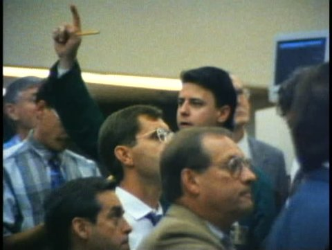 WINNIPEG, MANITOBA, 1990, Winnipeg Commodities Exchange, hands signaling trade