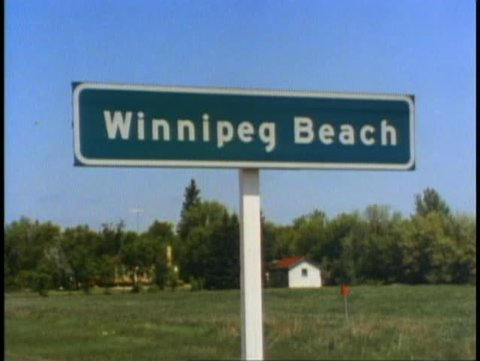 WINNIPEG, MANITOBA, 1990, Winnipeg Beach sign, Manitoba