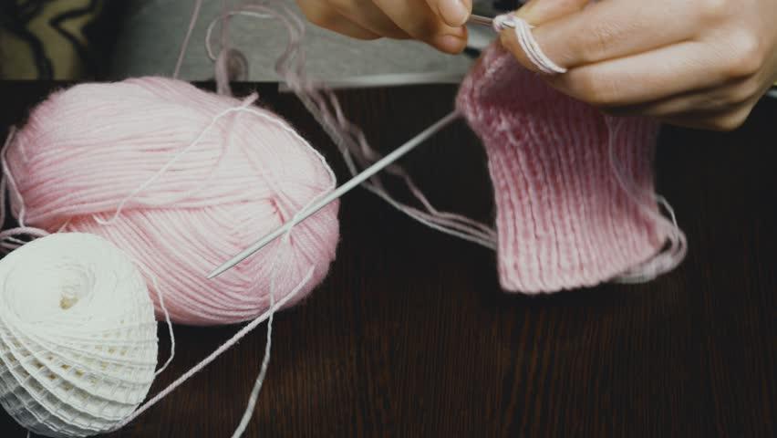 Womens Hands Knit Socks Beautiful Stock Footage Video 100