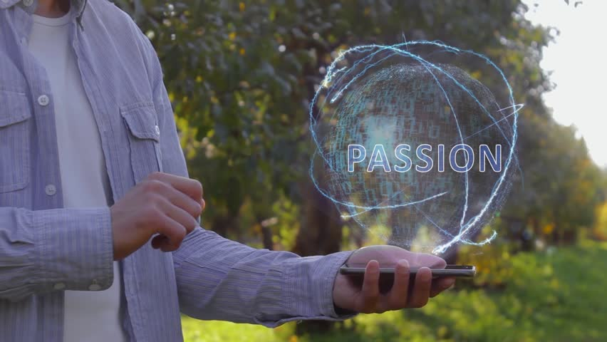Unrecognizable man shows conceptual hologram with text Passion. Farmer on the background of the apple orchard in casual clothes with the technology of the future mobile screen
