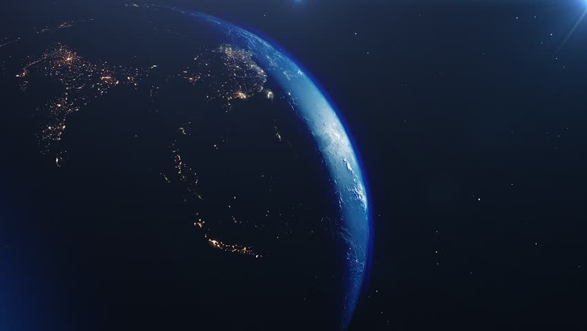 Beautiful sunrise world skyline. Planet earth from space. Planet earth rotating animation. Clip contains space, planet, galaxy, stars, cosmos, sea, earth, sunset, globe. 4k 3D Render. Images from NASA #1023566563