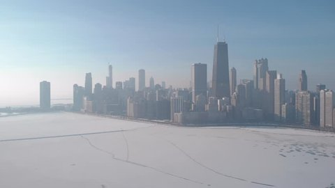 Chicago downtown buildings skyline aerial frozen lake