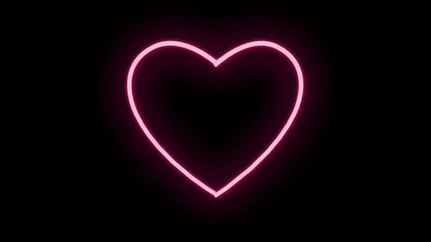 Neon sign HEART. Neon frame switch on with a flicker