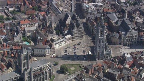 AERIAL Belgium-Belfry Of Ghent 2007: Belfry, square and Saint Nicholas church St Niklaas Kerk