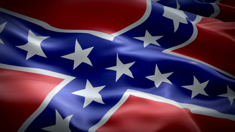 Dixie flag video waving in wind. Realistic Rebel Flag background. Rebellion US Confederate seamlessly looping flag Closeup 1080p Full HD 1920X1080 footage. Confederate States of America flags