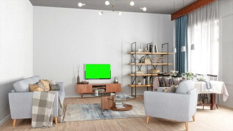 Living Room with Television with track green screen-3d rendering