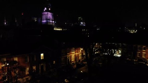 Leeds City Centre aerial footage taken at Christmas time in Leeds West Yorkshire, showing the Leeds Town Hall and Christmas Ferris wheel.