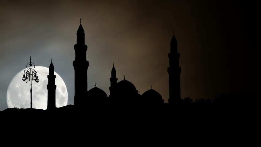 The Quba Mosque by Nigth with Full Moon, is a mosque in the outlying environs of Medina, Saudi Arabia | Shutterstock HD Video #1023748543