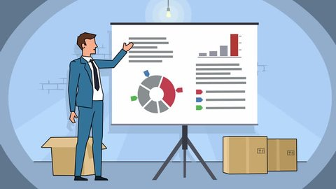 Flat cartoon businessman character in basement speaker explain business concept on whiteboard presentation animation