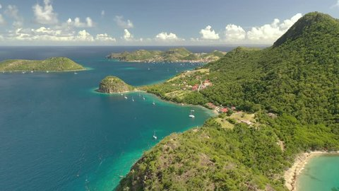 Guadeloupe / France - January 1, 2019 : Aerial of the scenery and natural landscape in Guadeloupe, a French overseas region in the Carribean.