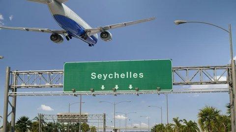 Airplane Landing Seychelles
