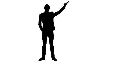 Man newsreader presenting the news. White background. Silhouette