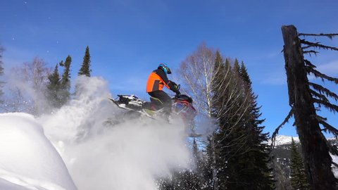 beautiful snowmobile jump in the mountain forest. large splashes of snow from the snowmobile on the background of the valley and the old dry fir trunk.  stock video footage. Slow motion