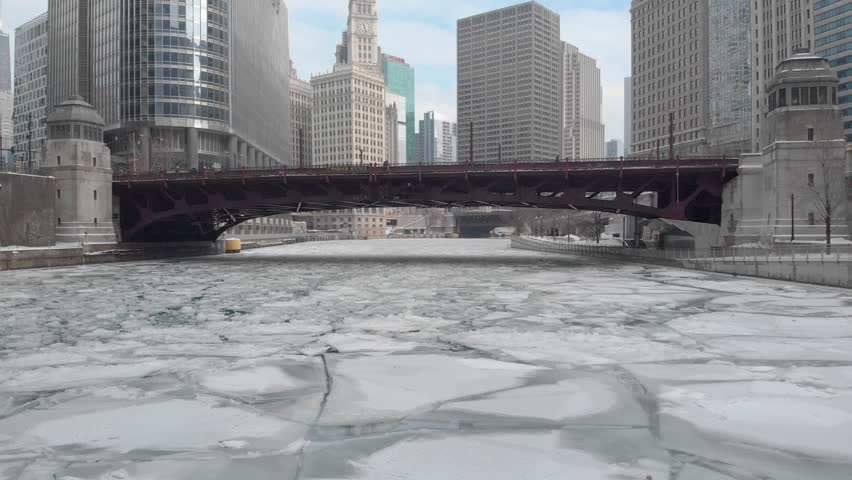 Chicago icy river aerial moving dolly | Shutterstock HD Video #1023852973