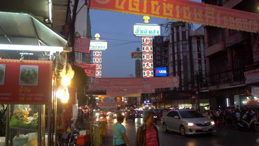 22th January 2019. Bangkok, Thailand. Busy traffic on Yaowaraj road, Bangkok,Chinatown, Thailand.   Shutterstock HD Video #1023857233