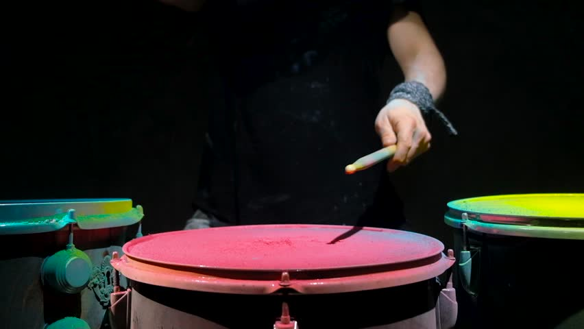 Pink holi powder drum , slow motion. black background. | Shutterstock HD Video #1023927313