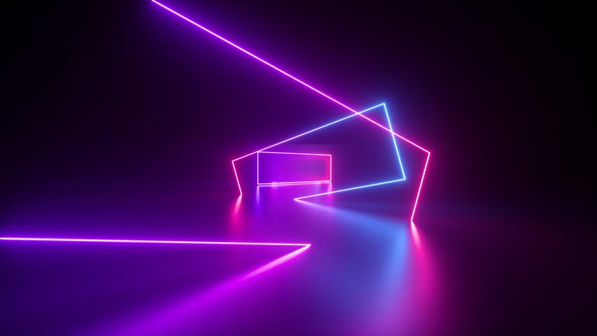 Moving forward endless tunnel, abstract neon background, ultraviolet light, glowing lines, virtual reality interface, frames, hud, pink blue spectrum, laser rays | Shutterstock HD Video #1023973223