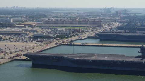 Norfolk Virginia Aerial v43 Panoramic view of Naval pier, ships, and station grounds left to right 10/17