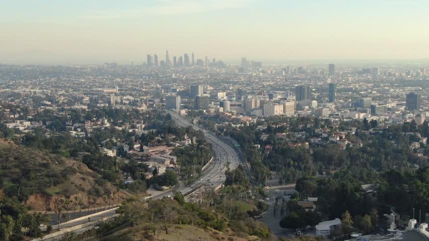 Aerial Establish Shot of Los Angeles from Hollywood | Shutterstock HD Video #1024013393