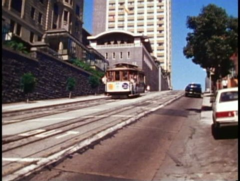 SAN FRANCISCO, CALIFORNIA, 1979, Cable cars passing on Powell Street steep angle