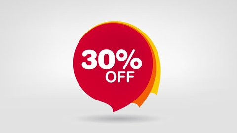 Sale Banners Set. Price Discount Animation Web Banners. Sale 10%, 20%, 30%, 40%, 50%, 60%,70%, 80%, 90% OFF. Animated Discount Price Tag Special Offer.