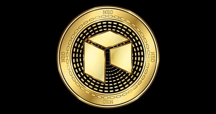 Animated NEO (NEO) cryptocurrency gold coin. Gold coin with blockchain symbols spinning on it | Shutterstock HD Video #1024170983