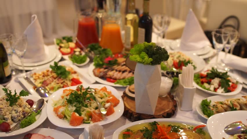 Food on the table in the restaurant | Shutterstock HD Video #1024176923