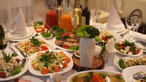 food on the table in the restaurant