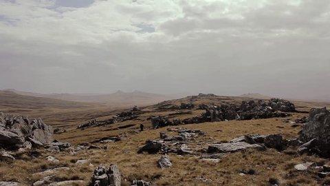 Two Sisters Field in Falkland Islands, Scene of The Battle of Two Sisters during Falklands War.
