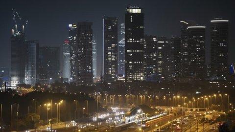 Tel Aviv Skyline City And Ayalon Freeway At Night, View of Tel Aviv at night. Israel