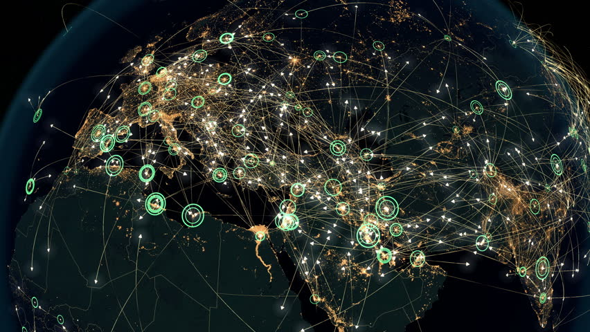 Many Arrows Fly Between Cities. Global Communications over Asia and Europe. Global Connections - Destinations all over the World. Flight Paths. The High-Resolution Texture of City Lights. 4k.